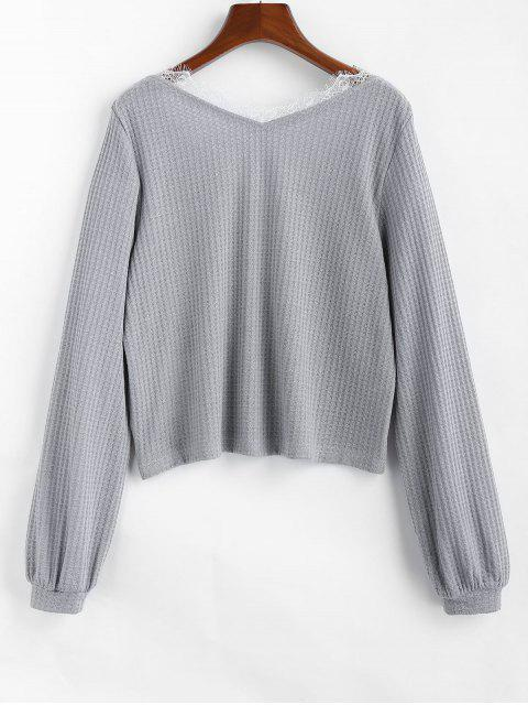 new ZAFUL V Neck Eyelash Lace Knitwear - PLATINUM L Mobile