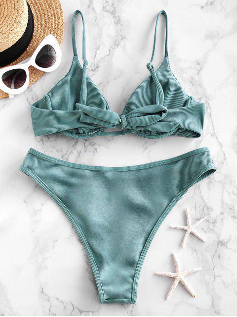 ZAFUL Bikini Badeanzug mit Geripptem Bindeband - Helles Meergrün L Mobile