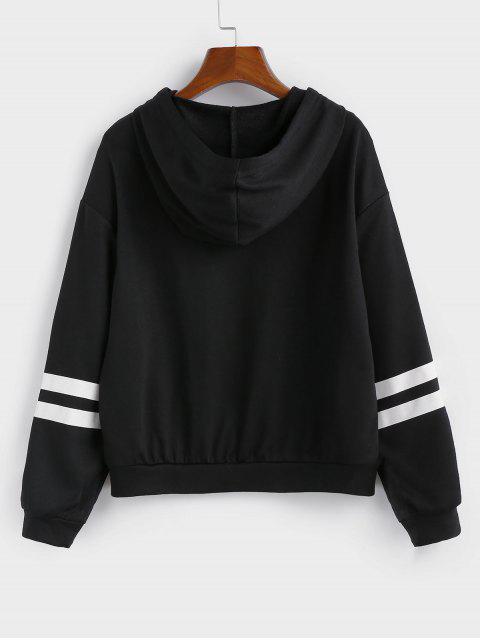 ZAFUL條紋連帽落肩拉鍊外套 - 黑色 L Mobile