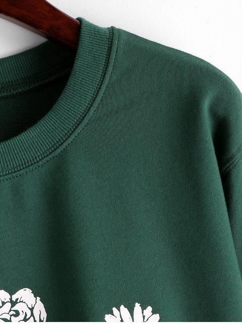 花圖形棉花法國特里卹 - 深綠色 L Mobile