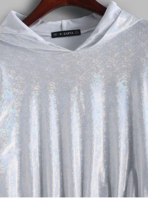 ZAFUL Fallschulter Metallische Glänzender Hoodie - Silber XL Mobile