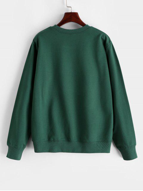 Baumwoll Terry Blumen Grafik Sweatshirt - Dunkelgrün XL Mobile