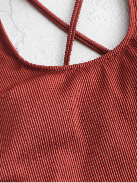 ZAFUL Крест Пряжка С поясом Рубчатый Слитный Купальник - Каштановый  M Mobile