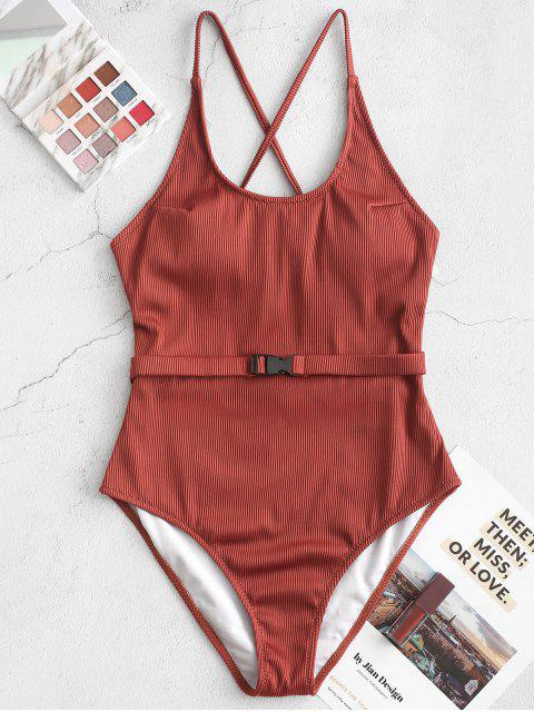 womens ZAFUL Ribbed Cross Buckle Belt One-piece Swimsuit - CHESTNUT L Mobile