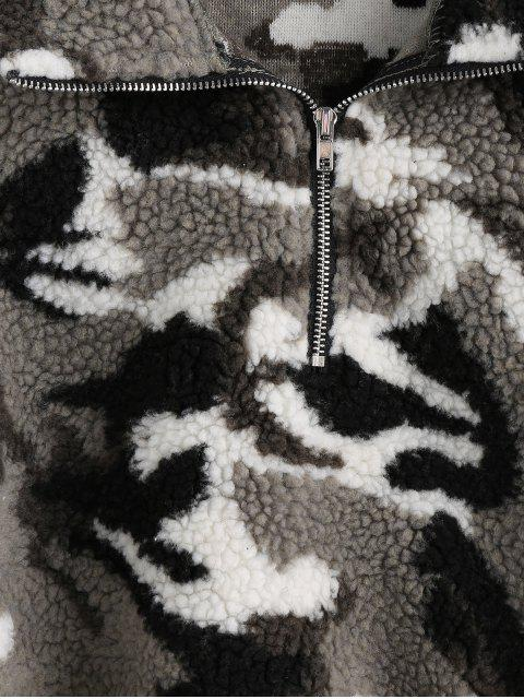 ZAFUL Camo Tropfen Schulter Frontzipp Teddy Sweatshirt - Bewölkt Grau L Mobile