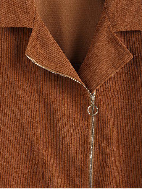ZAFUL Corduroy Tropfen Schulter Zipper Belted Jacket - Holz XL Mobile