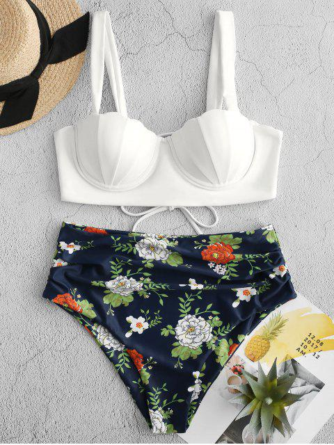 ZAFUL Blumendruck Push Up Seashell Tankini Set - Lapisblau M Mobile