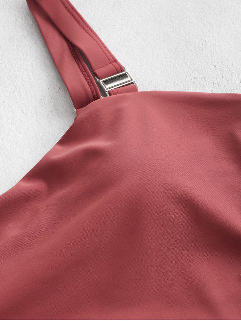 ZAFUL High Cut cerrojo junta tórica Tankini del traje de baño - Castaño Rojo M Mobile