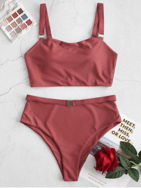 ZAFUL High Cut cerrojo junta tórica Tankini del traje de baño - Castaño Rojo S Mobile