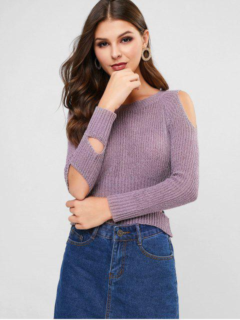 金銀線摳圖閉門羹毛衣 - 紫色 One Size Mobile