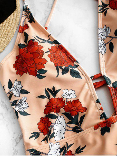 chic ZAFUL Lace Up Floral Print One-piece Swimsuit - LIGHT SALMON M Mobile