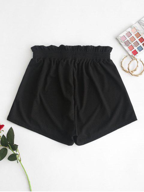trendy ZAFUL Frilled Ribbed Boyshort Bikini Bottom - BLACK S Mobile
