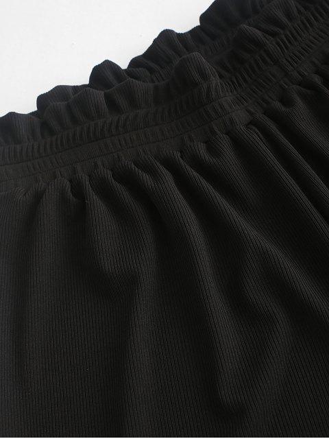 ZAFUL Rüschen Gerippter Boyshort Bikini Bottom - Schwarz M Mobile