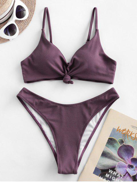 women ZAFUL Knot Side Boning Ribbed Bikini Swimsuit - VIOLA PURPLE S Mobile