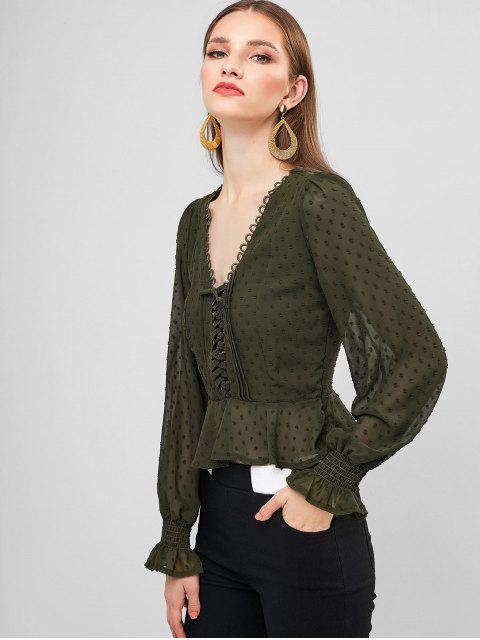 shop Swiss Dot Lace Up Poet Sleeves Crop Blouse - CAMOUFLAGE GREEN L Mobile