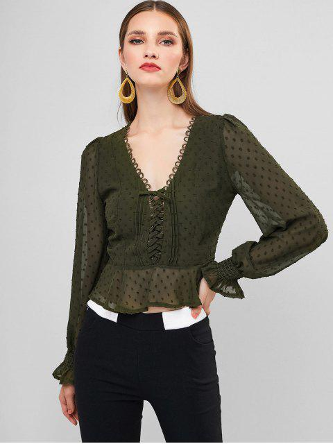 buy Swiss Dot Lace Up Poet Sleeves Crop Blouse - CAMOUFLAGE GREEN S Mobile