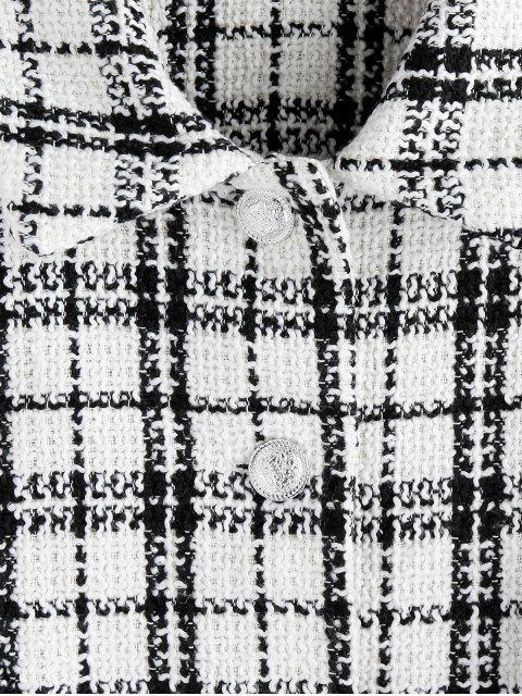 ZAFUL Chaqueta Tweed de Cuadros con Doble Bolsillos - Multicolor-A XL Mobile