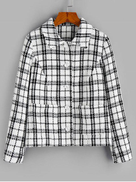 best ZAFUL Plaid Print Double Pockets Tweed Jacket - MULTI-A L Mobile