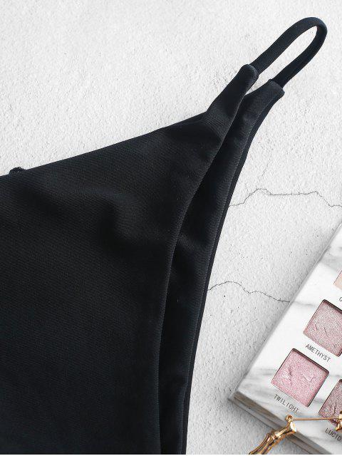 hot ZAFUL Low Waist Solid Bikini Bottom - BLACK S Mobile