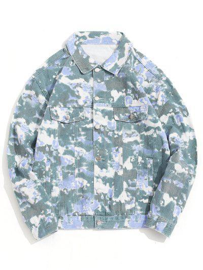 Camo Print Button Up Casual Jacket - Green 4xl