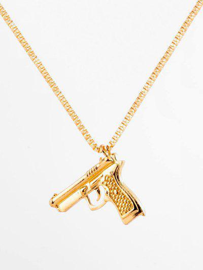 Hip-hop Gun Shape Pendant Necklace - Gold