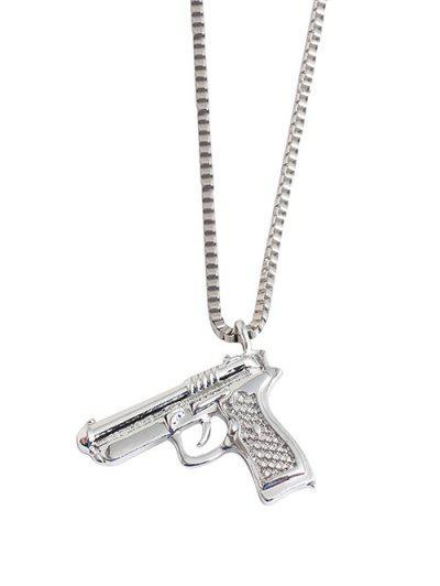 Hip-hop Gun Shape Pendant Necklace - Silver