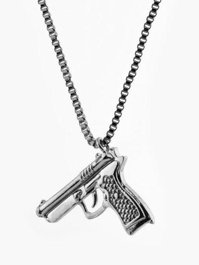 Hip-hop Gun Shape Pendant Necklace - Gunmetal
