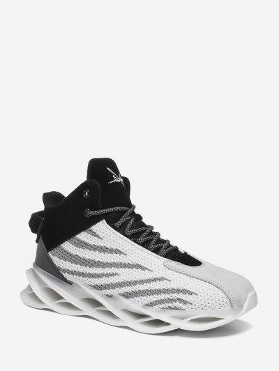 Irregular Stripe Breathable Mesh Basketball Sneakers - White Eu 42