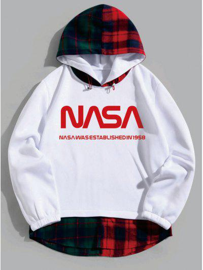 2 in 1 Letter Printed Plaid Hoodie