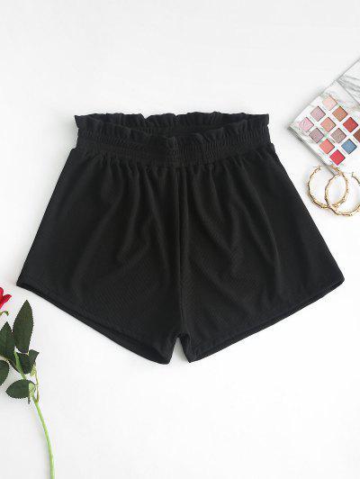 ZAFUL Frilled Ribbed Boyshort Bikini Bottom - Black S