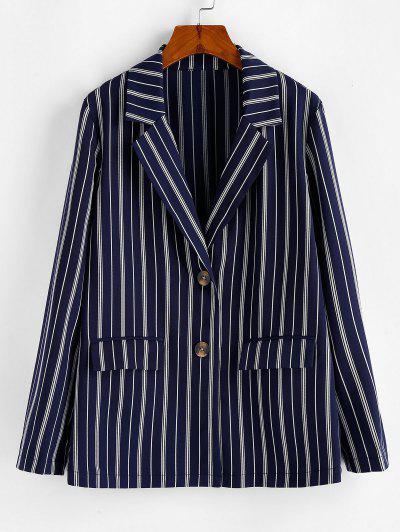 ZAFUL Tortoise Button Vertical Striped Blazer - Dark Slate Blue L