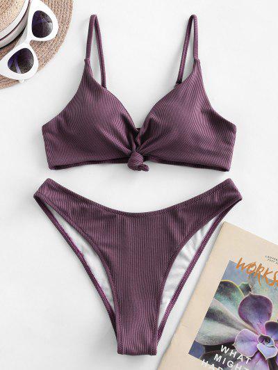 ZAFUL Knot Side Boning Ribbed Bikini Swimsuit - Viola Purple S