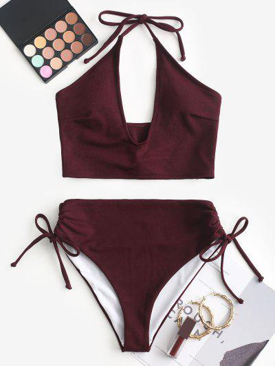 ZAFUL Cinched Solid Halter Tankini Set - Velvet Maroon L
