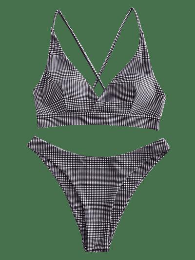 ZAFUL Gingham Crisscross Lace-up Surplice Bikini Swimsuit