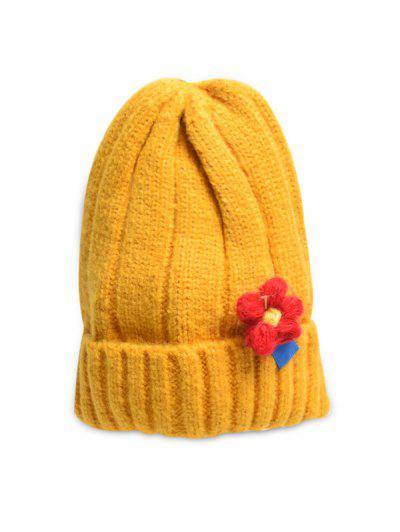 Winter Floral Turn Up Edge Knitted Hat - Golden Brown