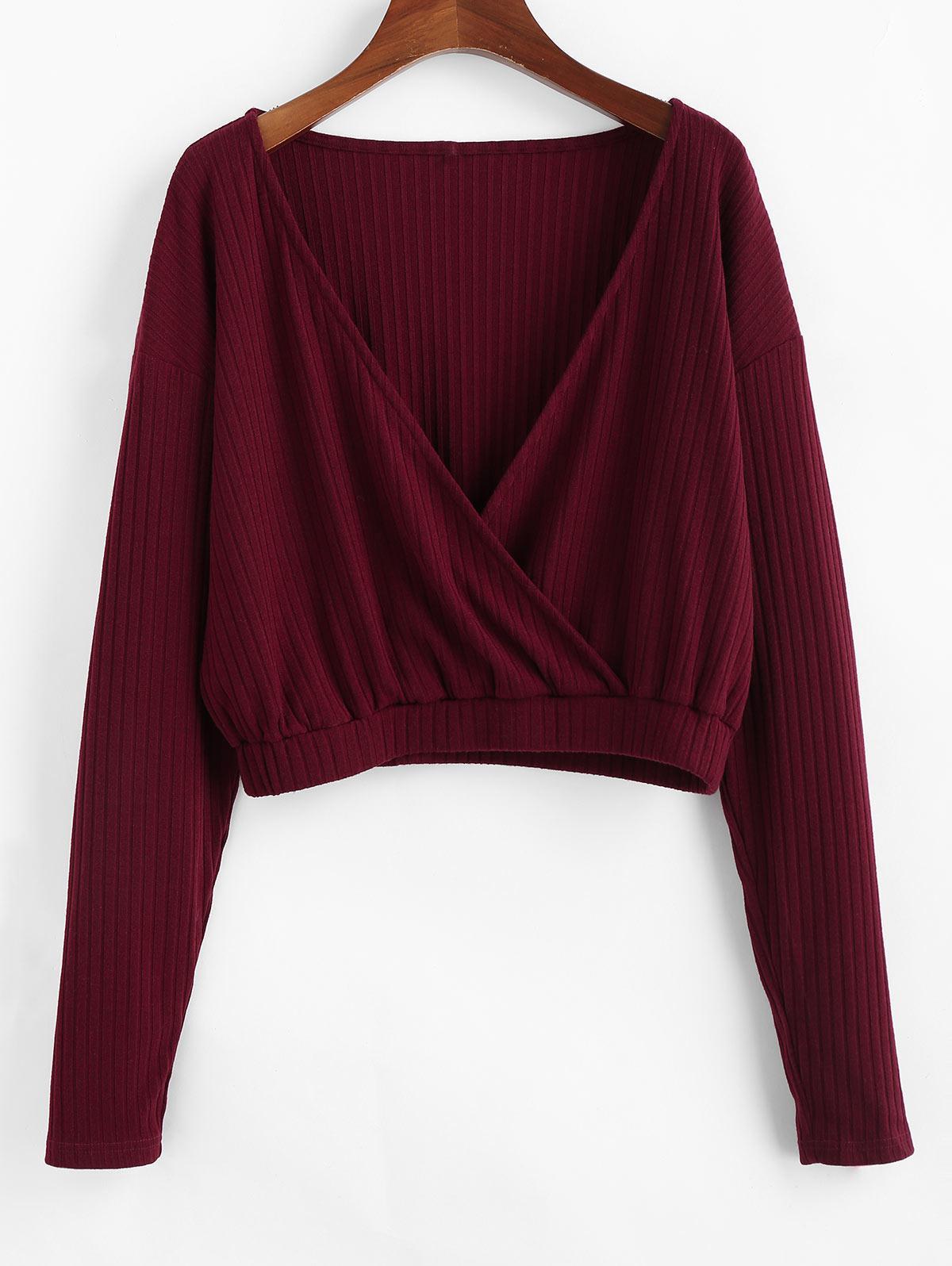 ZAFUL Ribbed Cropped Surplice Knitwear