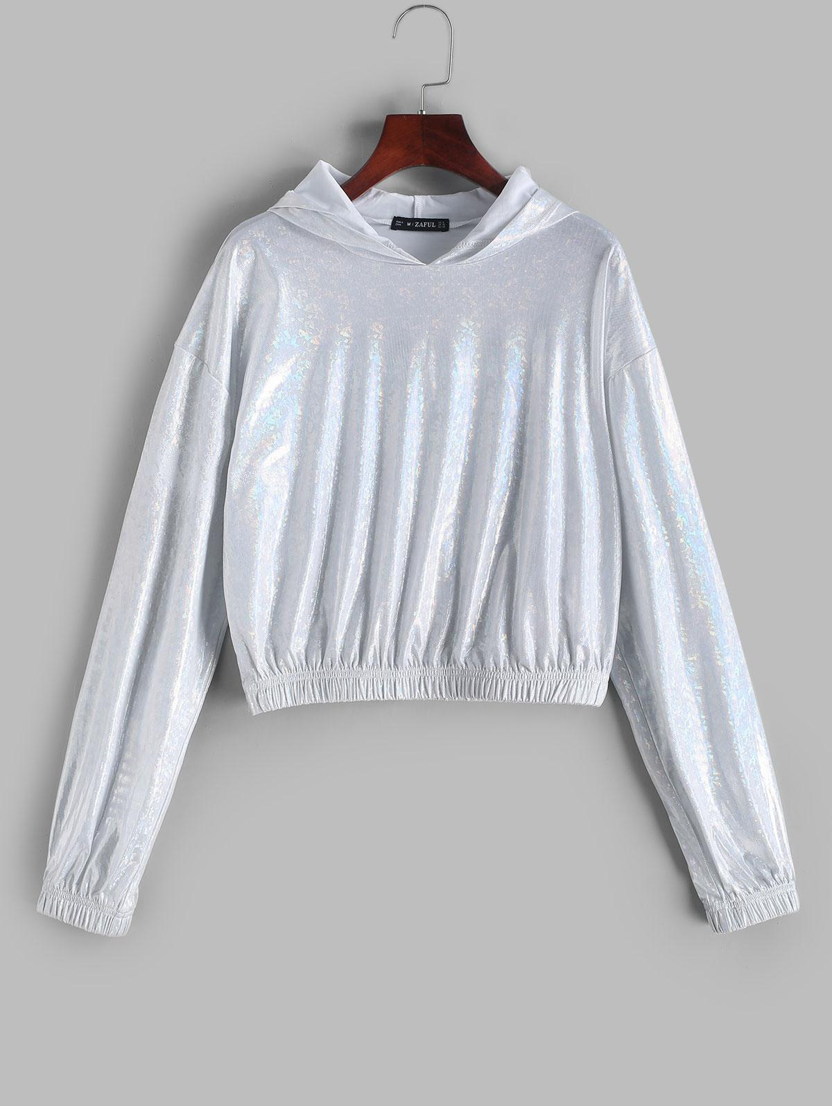 ZAFUL Drop Shoulder Metallic Shiny Hoodie