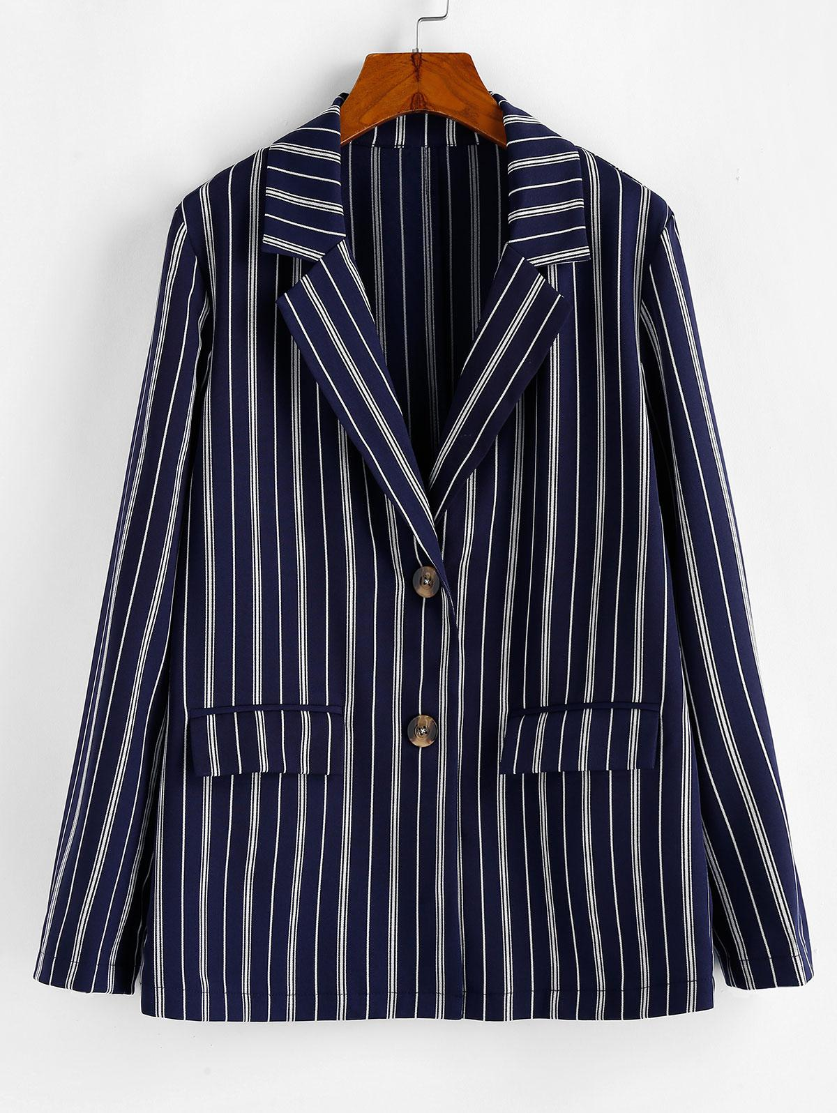 ZAFUL Tortoise Button Vertical Striped Blazer