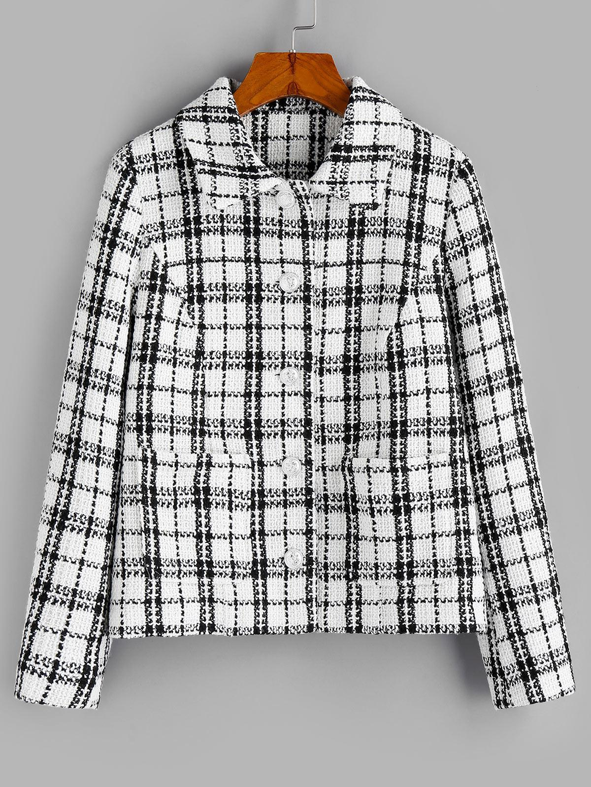 ZAFUL Plaid Print Double Pockets Tweed Jacket