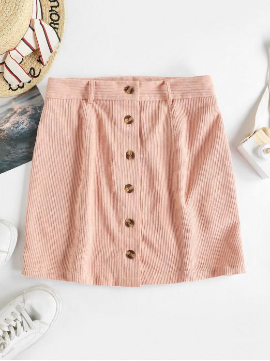 outfits ZAFUL Corduroy Button Fly Mini Skirt - PINK ROSE S