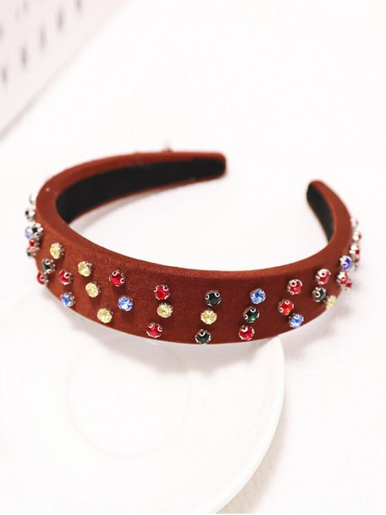 unique Colored Rhinestone Wide Hairband - CHERRY RED