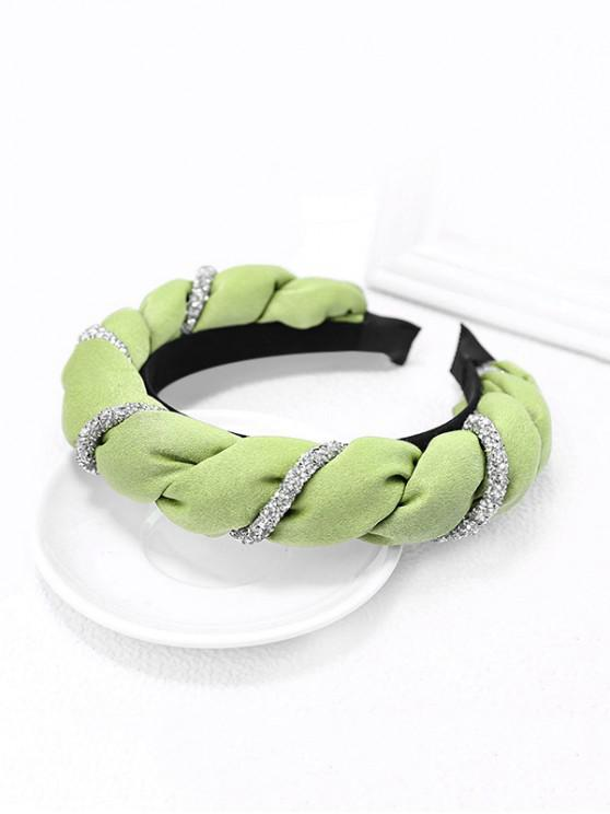 latest Two Tone Rhinestone Twist Hairband - LIGHT GREEN