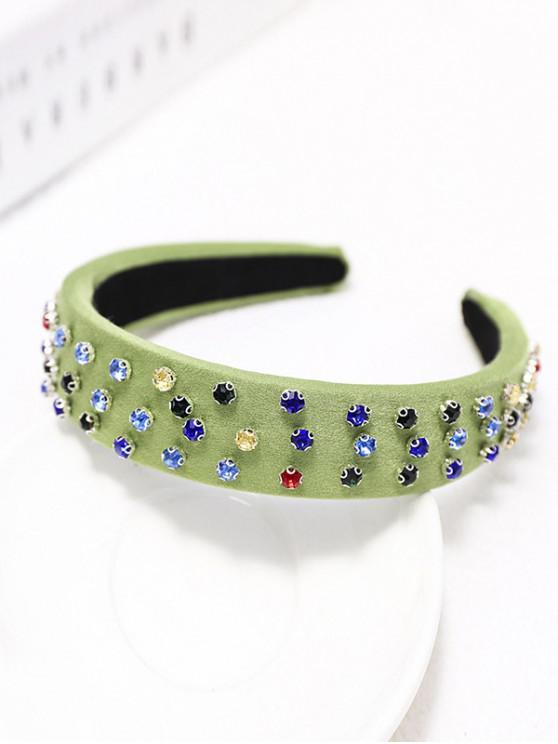 chic Colored Rhinestone Wide Hairband - LIGHT GREEN