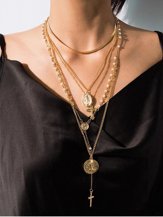 Cruz collar de varias capas de perlas de imitación - Oro