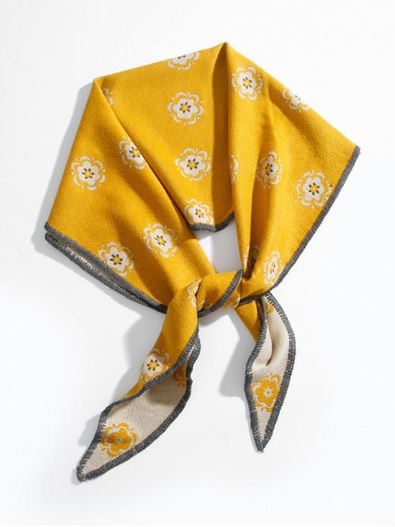 lady Ethnic Flower Print Rhombus Shawl - YELLOW