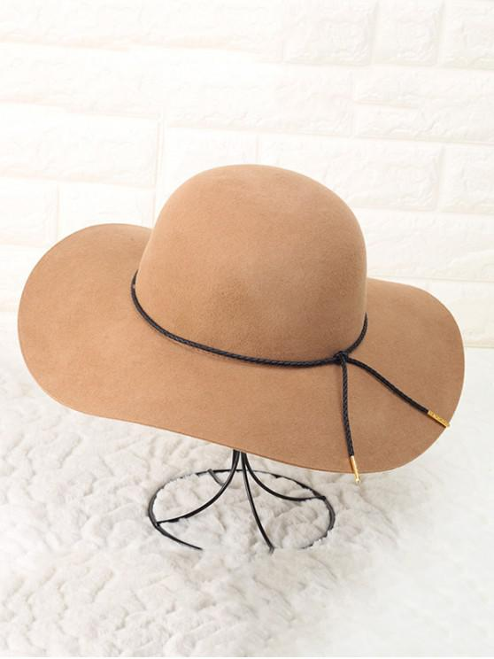 outfits Solid Rope Wool Floppy Hat - TAN