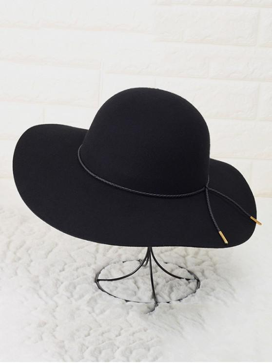 new Solid Rope Wool Floppy Hat - BLACK