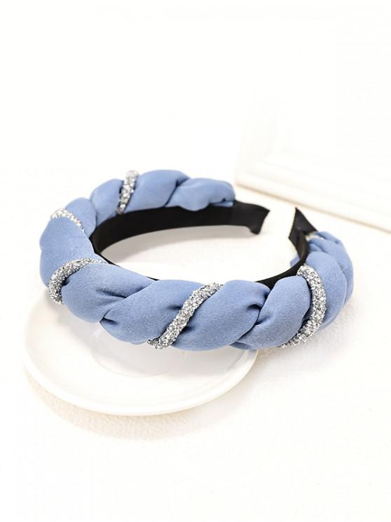 fancy Two Tone Rhinestone Twist Hairband - BLUE GRAY