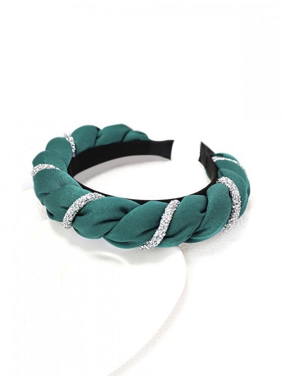 affordable Two Tone Rhinestone Twist Hairband - DARK GREEN