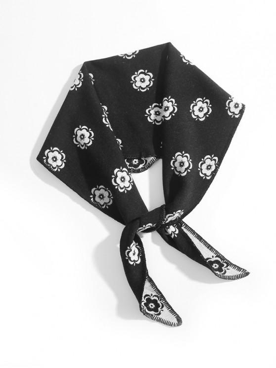 buy Ethnic Flower Print Rhombus Shawl - BLACK